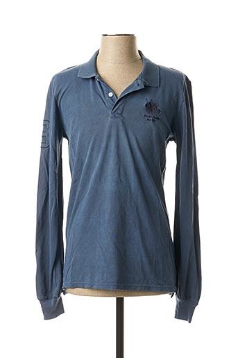 Polo manches longues bleu FRANK FERRY pour homme