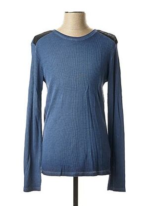 Pull col rond bleu GUESS pour homme