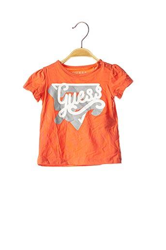 T-shirt manches courtes orange GUESS pour fille