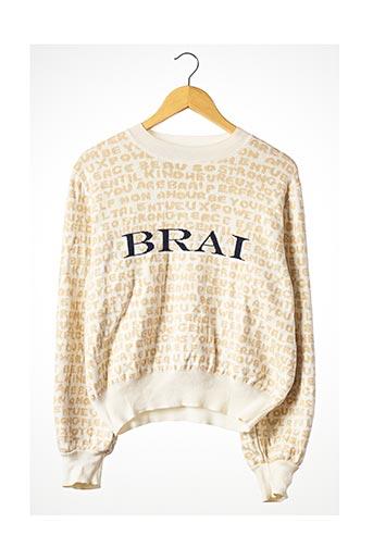 Pull col rond beige BRAI pour femme