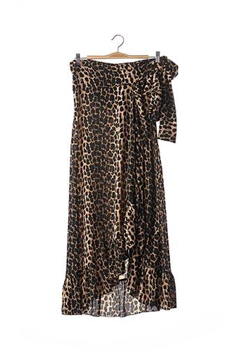 Jupe mi-longue marron COLOURFUL REBEL pour femme