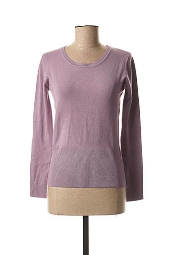 Pull col rond violet OPL pour femme