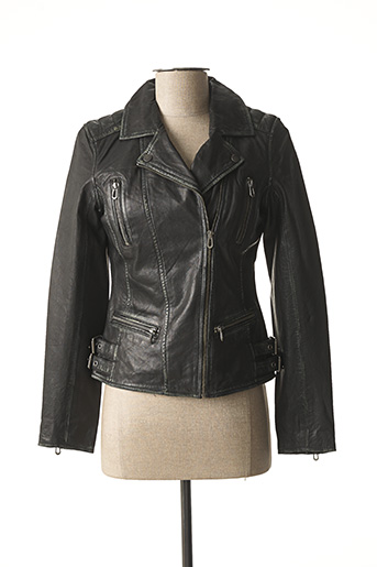 Veste en cuir noir ROSE pour femme