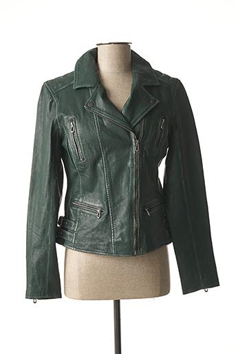Veste en cuir vert ROSE GARDEN pour femme