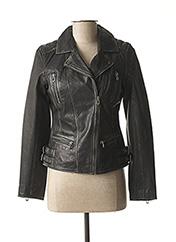 Veste en cuir noir ROSE pour femme seconde vue