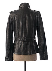 Veste en cuir noir ROSE GARDEN pour femme seconde vue