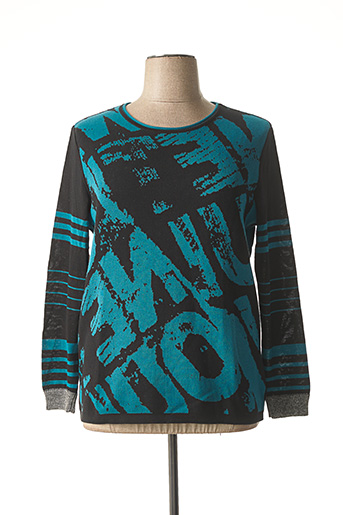 Pull col rond bleu CAPUCCINO pour femme