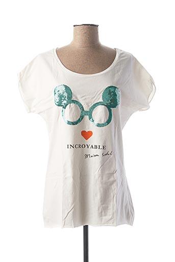 T-shirt manches courtes blanc MAISON SCOTCH pour femme