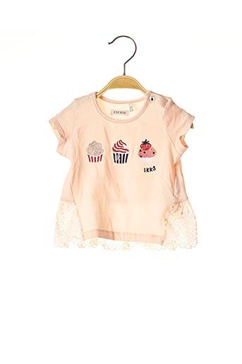 T-shirt manches courtes rose IKKS pour fille