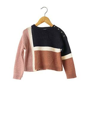 Pull col rond marron ABSORBA pour fille