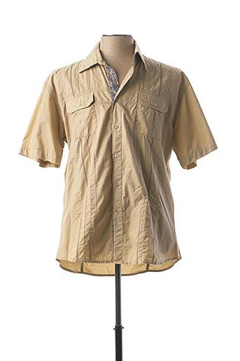 Chemise manches courtes beige STONES pour homme