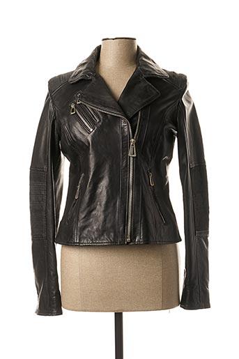 Veste en cuir noir ROSE GARDEN pour femme
