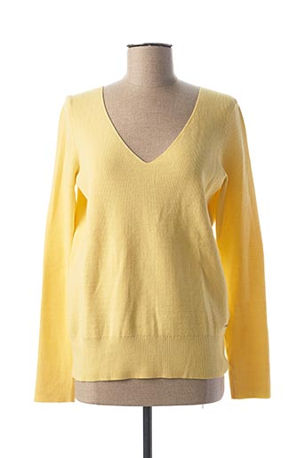 Pull col V jaune MORGAN pour femme