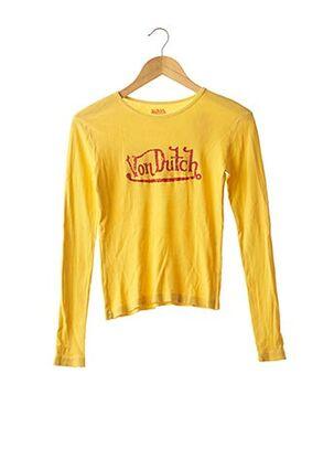 T-shirt manches longues jaune VON DUTCH pour femme