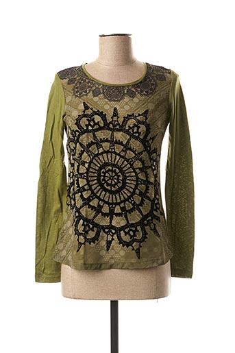T-shirt manches longues vert DESIGUAL pour femme