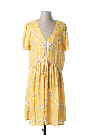 Robe mi-longue jaune KANOPE pour femme