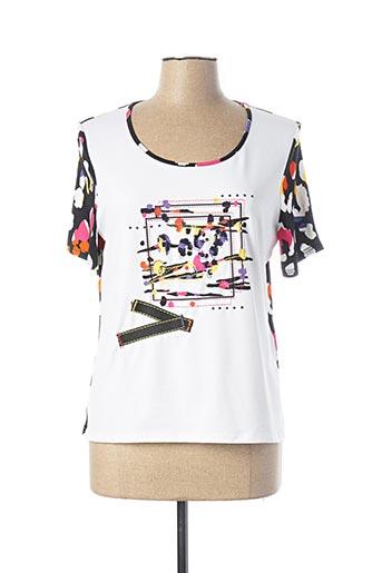 T-shirt manches courtes blanc PAUSE CAFE pour femme