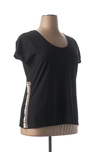 T-shirt manches courtes noir LAUREN VIDAL pour femme