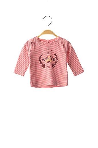 T-shirt manches longues rouge PETIT BATEAU pour fille