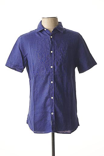 Chemise manches courtes bleu TIBET pour homme