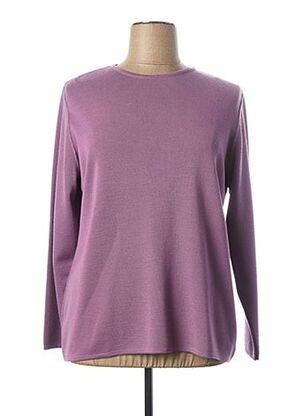 Pull col rond violet FIL & MAILLE pour femme