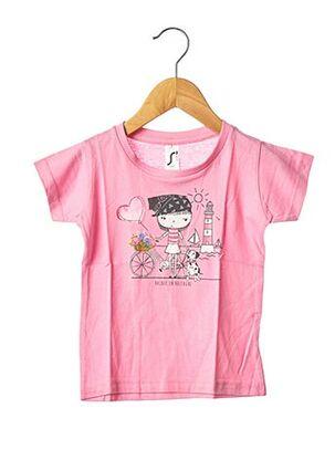 T-shirt manches courtes rose SOL'S pour fille