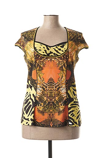 T-shirt manches courtes jaune EVALINKA pour femme