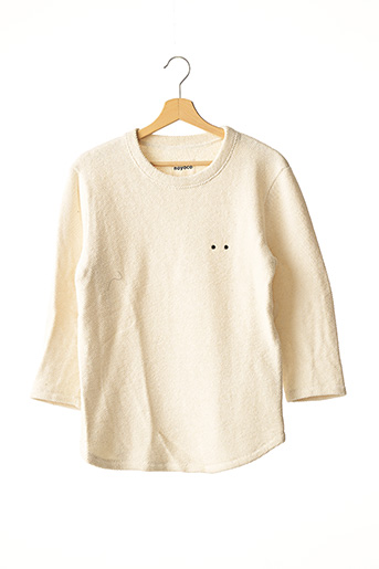 Pull col rond beige NOYOCO pour homme