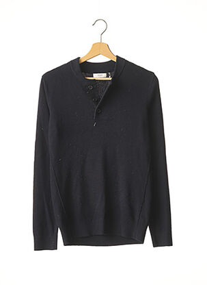 Pull col rond bleu IKKS pour homme