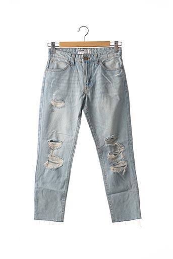 Jeans coupe slim bleu BERSHKA pour homme