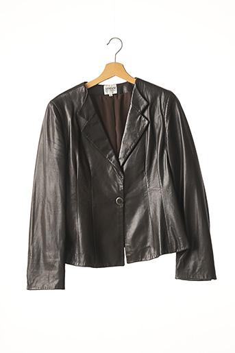 Veste en cuir marron ARMANI pour femme