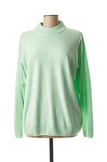 Pull col rond vert CASHMERE FEELING pour femme