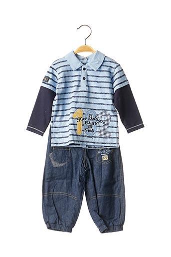 Top/pantalon bleu LES BEBES SONT COMME CA ! pour garçon