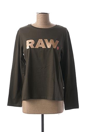 T-shirt manches longues vert RAW-7 pour fille
