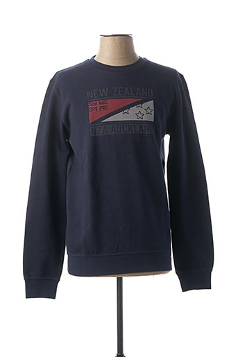 Pull col rond bleu N.Z.A NEW ZEALAND pour homme