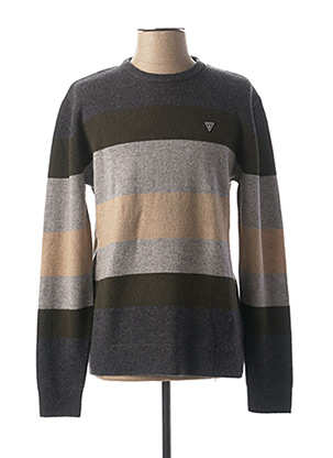 Pull col rond vert GUESS pour homme