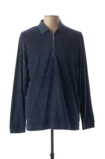 Polo manches longues bleu EDWIN pour homme