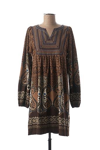 Robe mi-longue marron PALME pour femme