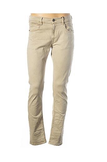 Jeans coupe slim beige FREEMAN T.PORTER pour homme