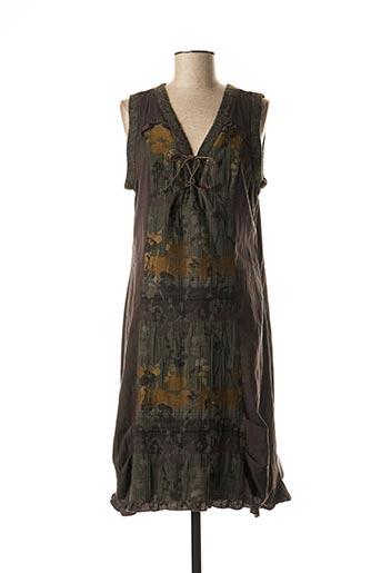 Robe mi-longue marron QUATTRO pour femme