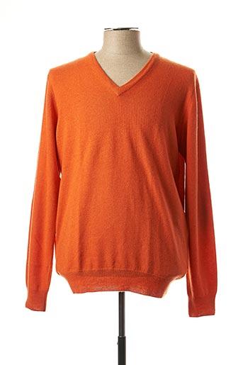 Pull col V orange HACKETT pour homme