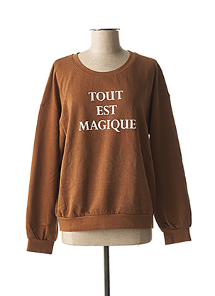 Sweat-shirt marron ICHI pour femme