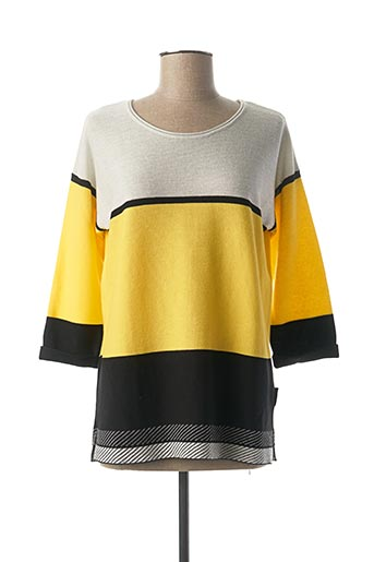 Pull col rond jaune CAPUCCINO pour femme