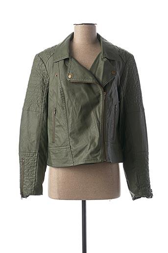 Veste simili cuir vert SOYACONCEPT pour femme