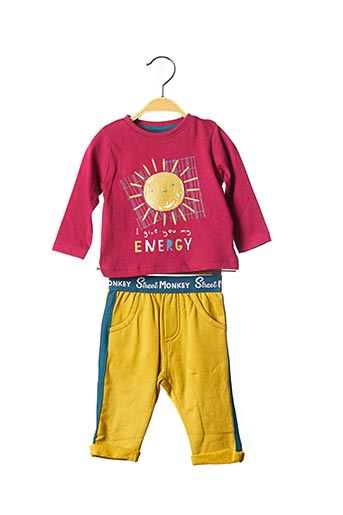 Top/pantalon rouge STREET MONKEY pour garçon