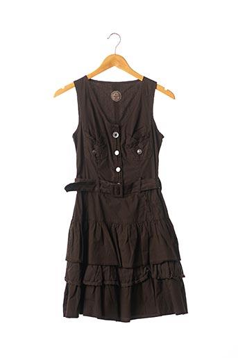 Robe courte marron DOUBLE ONE PEACE pour femme
