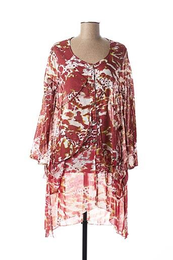 Robe mi-longue rouge CATY LESCA pour femme