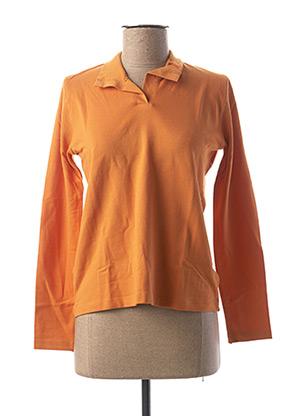 Polo manches longues orange CLOUD'S pour femme