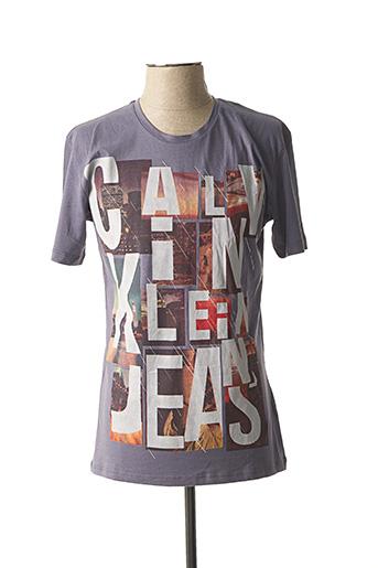 T-shirt manches courtes gris CALVIN KLEIN pour homme