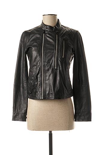 Veste en cuir noir G STAR pour femme